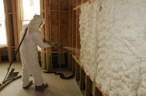 Spray polyurethane foam is a spray-applied material widely used to insulate buildings. Photo courtesy Spray Foam Coalition
