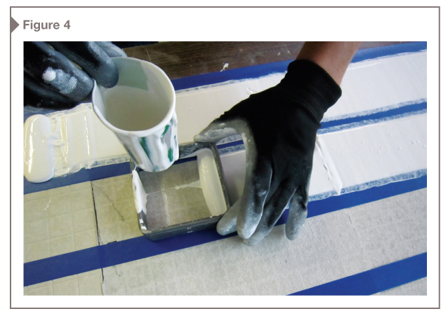 The coating products were applied to the vinyl test substrate at various wet film thicknesses (WFTs) with an eight-path wet-film-applicator. [CREDIT] Image courtesy Gorman Moisture Protection Inc.