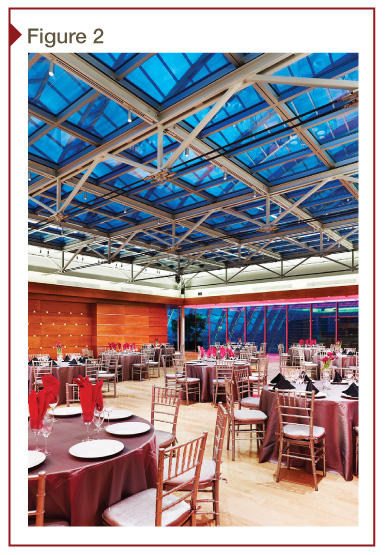 The renovation of the Dorrance H Hamilton Roof Garden at Philadelphia's Kimmel Center for the Performing Arts used electronically tintable dynamic glazing to provide temperature control, while maintaining full views to the barrel vaulted glass roof. [CREDIT] Photo courtesy Sage Electrochromics. Photo © Jeffrey Totaro Photography
