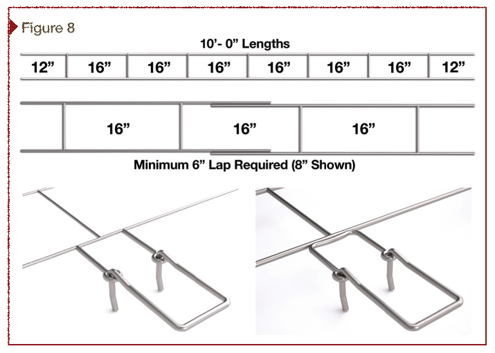 Ladder-shaped wire, code required minimum lap, and butt-welded adjustable eye options are shown here. Images courtesy John Maniatis