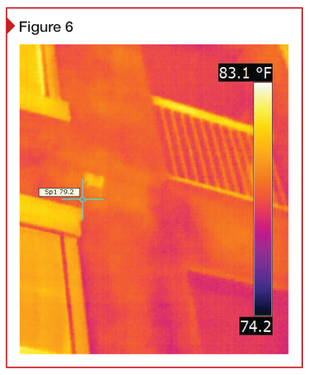 Infrared (IR) image from one of the author's building envelope studies of a multi-family residential project. This type of non-destructive evaluation can detect thermal anomalies that indicate trapped water; wet sheathing jeopardizes durability by promoting decay like that shown on page 34. However, for IRT surveys in hot climates, caution is advised because the direction of heat fl ow—from outside to inside—can mask the water's presence.
