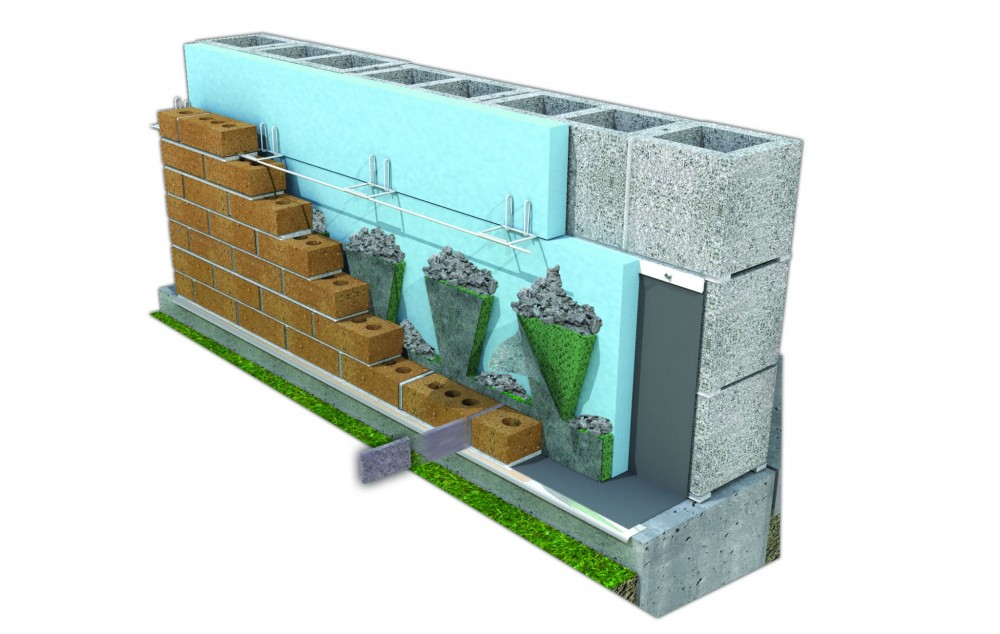 This diagram shows the elements of a cavity wall This particular assembly includes an insect barrier and mortar-dropping-collection device.