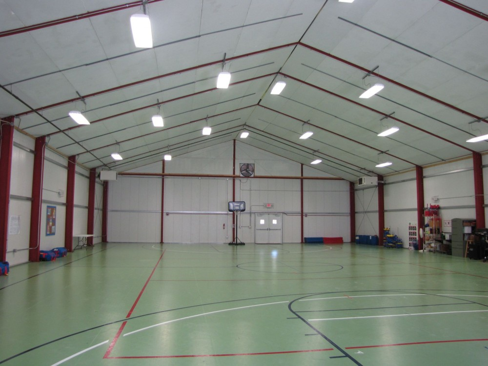 This is the interior of the temporary building serving as school gymnasium in Joplin, Missouri in May 2011.