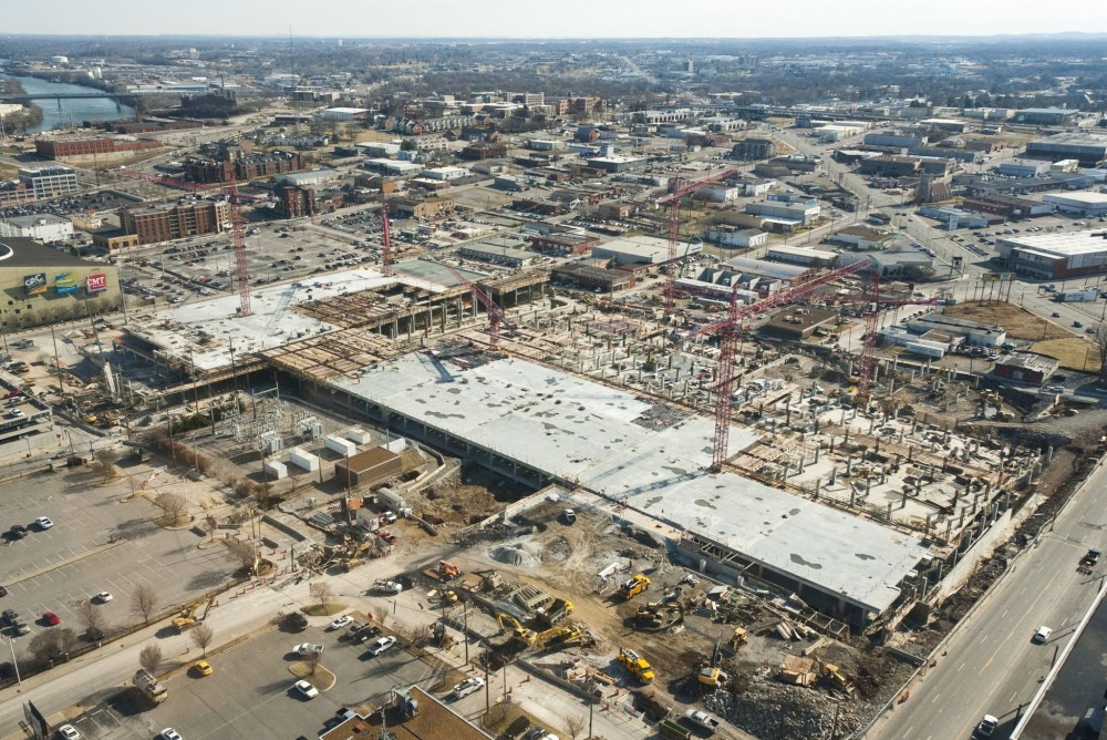 For the $585-million convention center, work began in early 2010. The facility extends the length of three blocks.