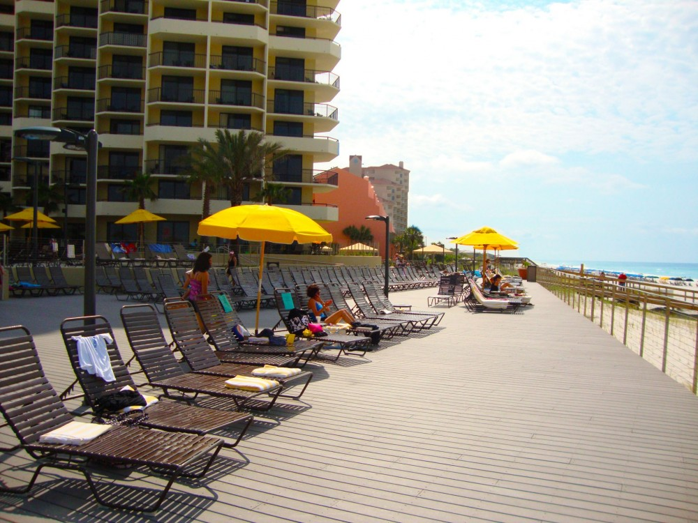 The Hilton Sandestin hotel on the Gulf of Mexico relies on composite decking to stand up to harsh weather and high user traffic. [CREDIT] Photo courtesy MoistureShield