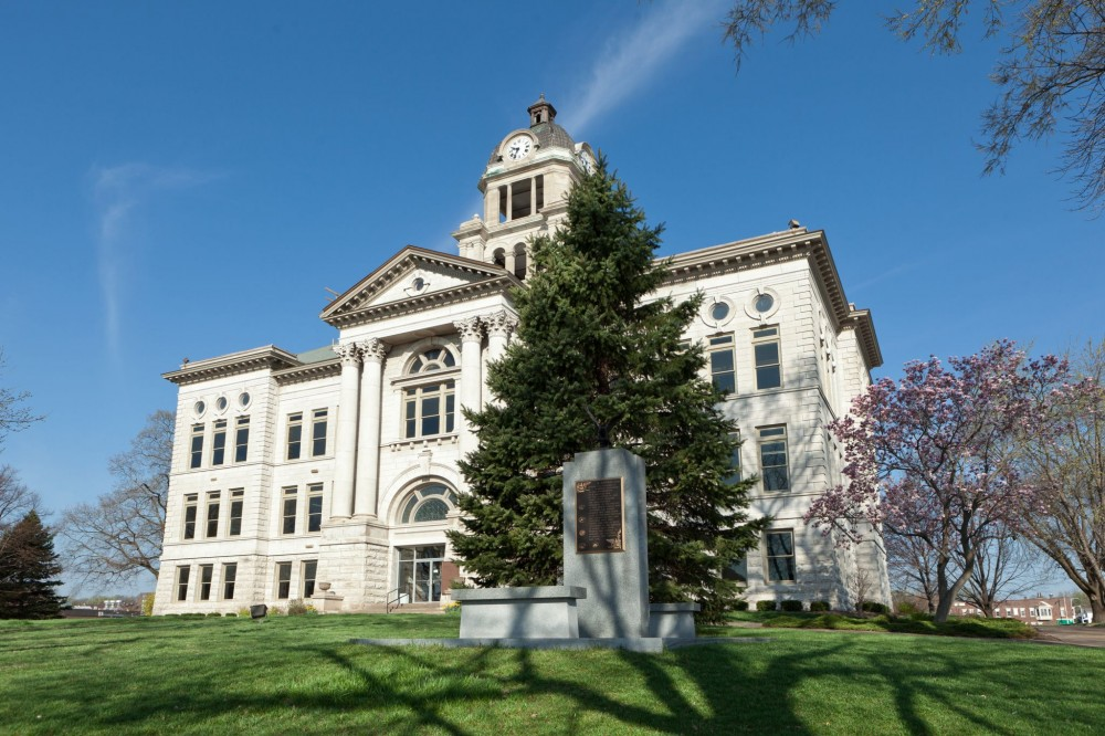 Taking advantage of an existing geothermal well field, the historic Muscatine County Courthouse (Muscatine, Iowa) used water-source VRF zoning systems.  [CREDIT] Photo © OnSite Photography