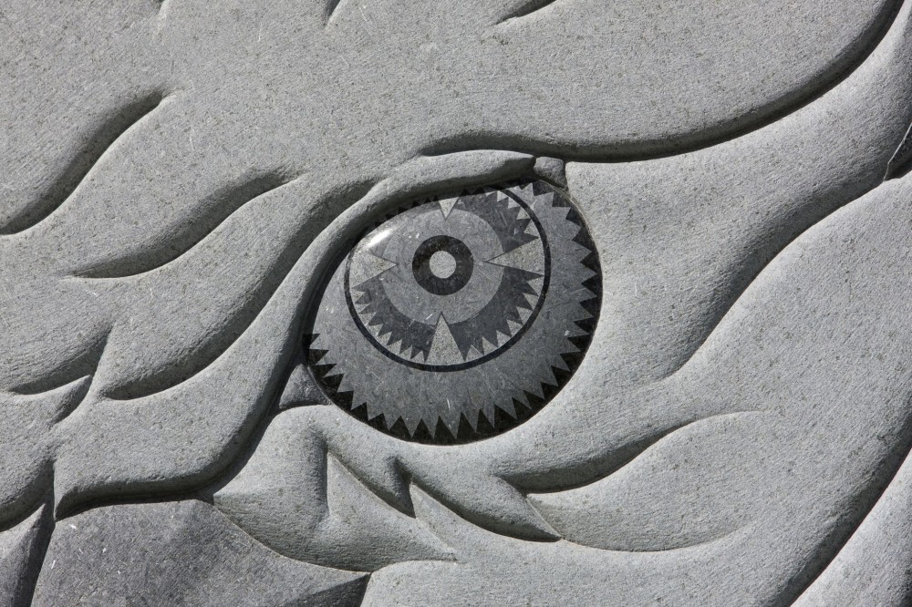 The eagle's eye at the Wall of Remembrance at Eagle Circle shows an example of the intricate work possible on granite through new technologies.
