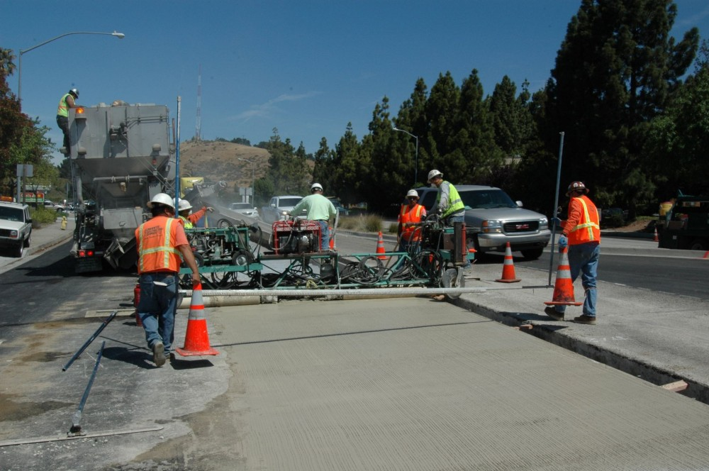 Panel replacement work on Highway 1 with rapid-setting cement in San Luis Obispo, California.