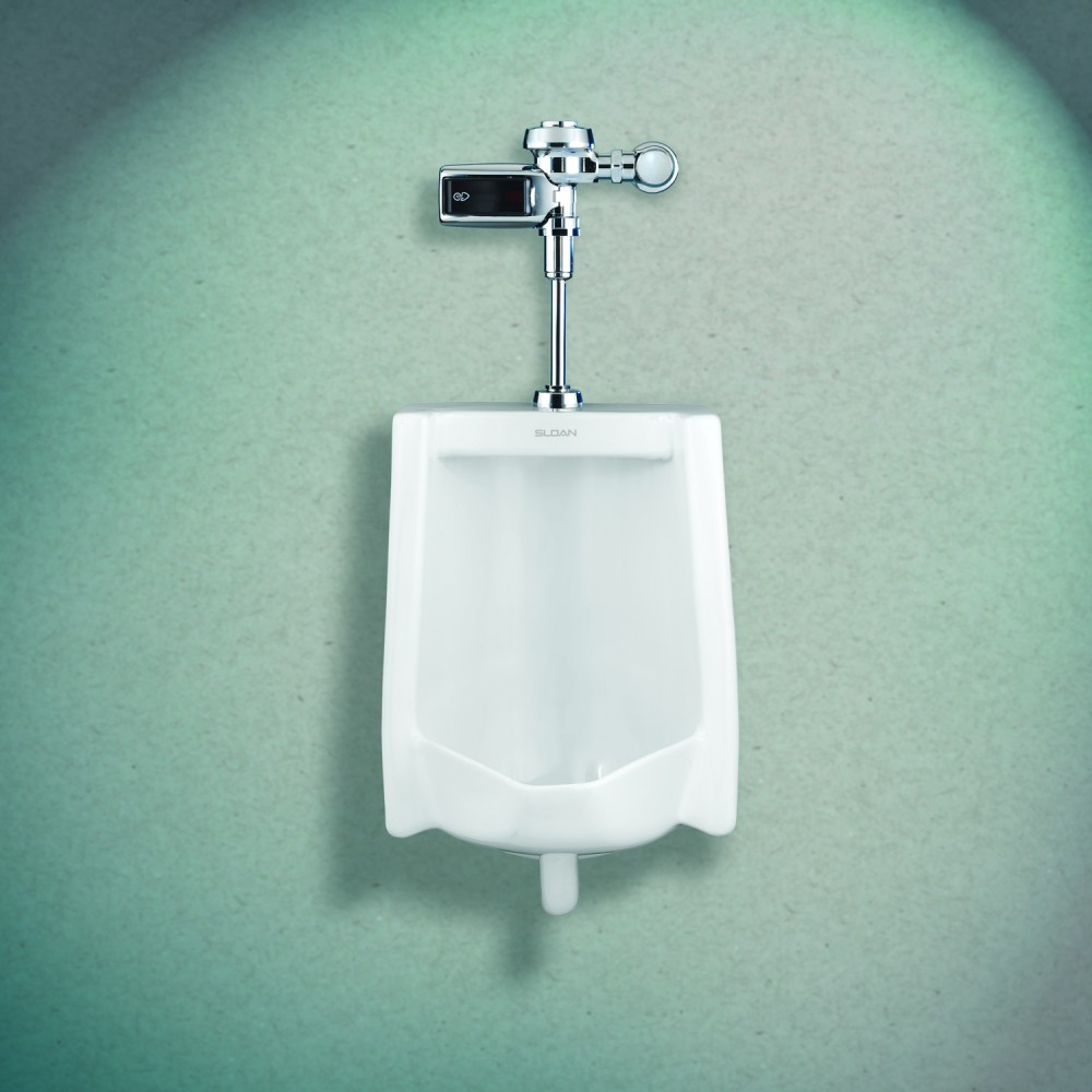 Vitreous china urinal fixtures with a larger footprint than standard models are ideal for retrofit projects because they cover caulk lines or other marks left behind after old fixtures are removed.