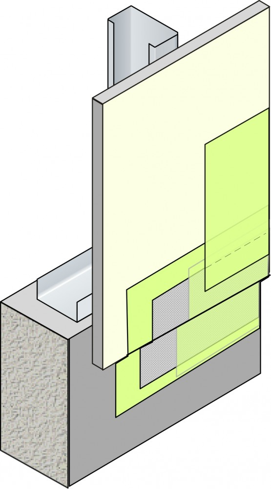 Continuity of the air barrier is maintained at a transition from sheathing to foundation through the use of a flexible transition membrane embedded in a fluid-applied air/moisture barrier.