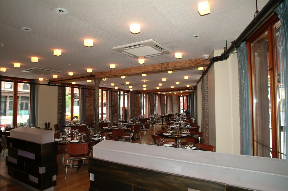 New York City's Vento Trattoria restaurant used a VRF zoning system to cool and heat the unique triangular-shaped building.  [CREDIT] Photo courtesy Mitsubishi Electric Heating & Cooling