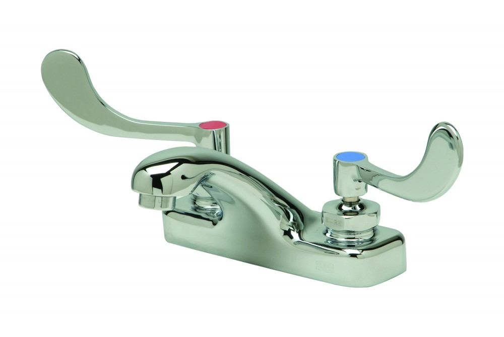 A lead-free faucet with wrist blade handles.