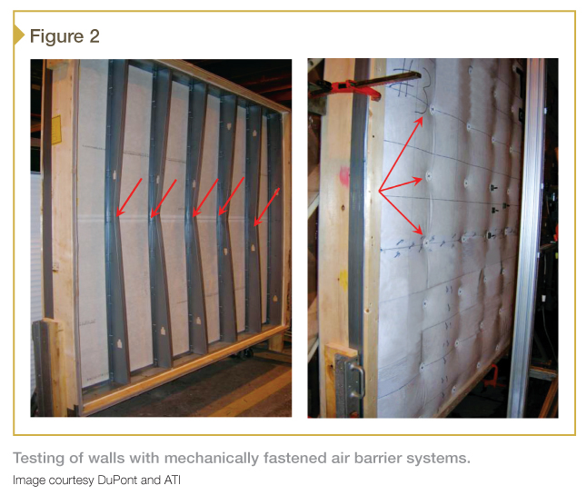 Testing of walls with mechanically fastened air barrier systems. Image courtesy DuPont and ATI