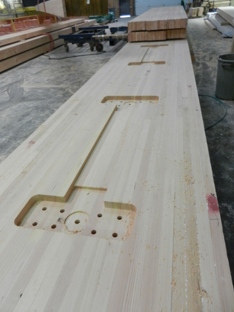This photo showcases glued-laminated lumber (glulam). Photos courtesy Structurlam