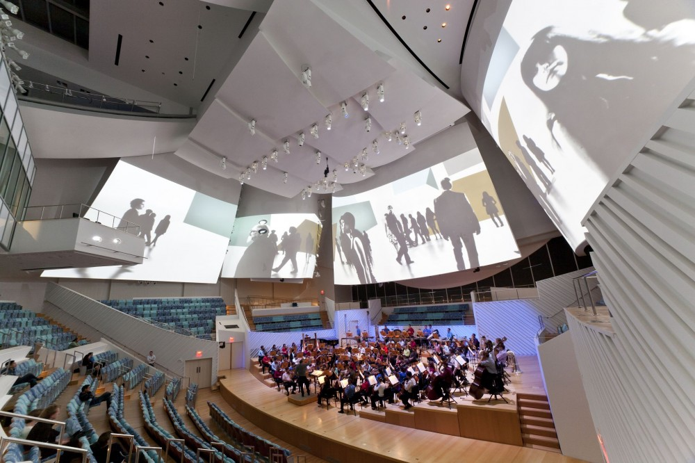 The New World Center's main performance hall delivers a multimedia experience with crisp acoustic integrity.