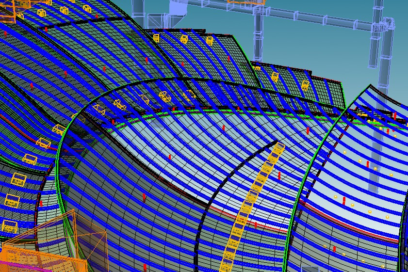 Technology has changed how spaces are designed. This image is a 3D framing model for an acoustic ceiling.