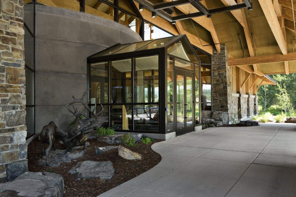 The entrance of the Rocky Mountain Elk Foundation building. [CREDIT] Photo courtesy Structurlam/OZ Architects