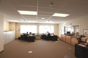 In an effort to decrease the amount of artificial light needed and control heating costs, all offices were located on the outer perimeter, and a clerestory runs the entire length of the facility.