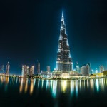 View On Burj Khalifa, Dubai, Uae, At Night