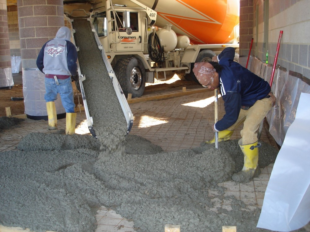 Concrete with a water to cement (w/c) ratio of 0.45 and below is stiff when it comes off the truck—otherwise, it may have been tampered with.