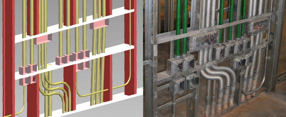 In this example, the conduit and wall framing have been planned to work together. The bank of electrical outlets was known in the design phase. As a result, each trade was able to understand how the elements should fit in the field. Not only does this look clean, but the coordinated effort also allowed it to pass inspection and prevent delays in the field. Images courtesy ClarkDietrich Engineering Services LLC