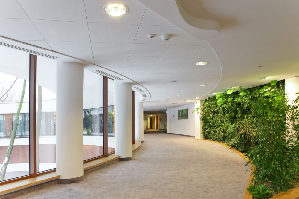 Stone wool ceilings offer good sound absorption, high light refl ectance, fi re protection, and humidity resistance. These panels are well-suited to create modular ceiling designs, such as long corridors.