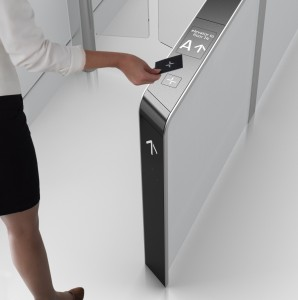 Large office buildings are more often using a turnstile application for security purposes.