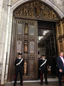 The large bronze doors adorning St. Patrick's Cathedral's Fifth Avenue main entrance were a late addition of the original 1949 wooden doors. The doors were fabricated and engineered following the blue prints of Charles Maginnis, which included hand-sculpted saints, religious figures, floral decoration, and symbols executed by the sculptor John Angel. When G & L Popian was selected to work on this project, the company conceptualized and implemented a feasible philosophy and practice by returning the bronze doors to the level of significance they deserved. Photo courtesy G & L Popian Inc.