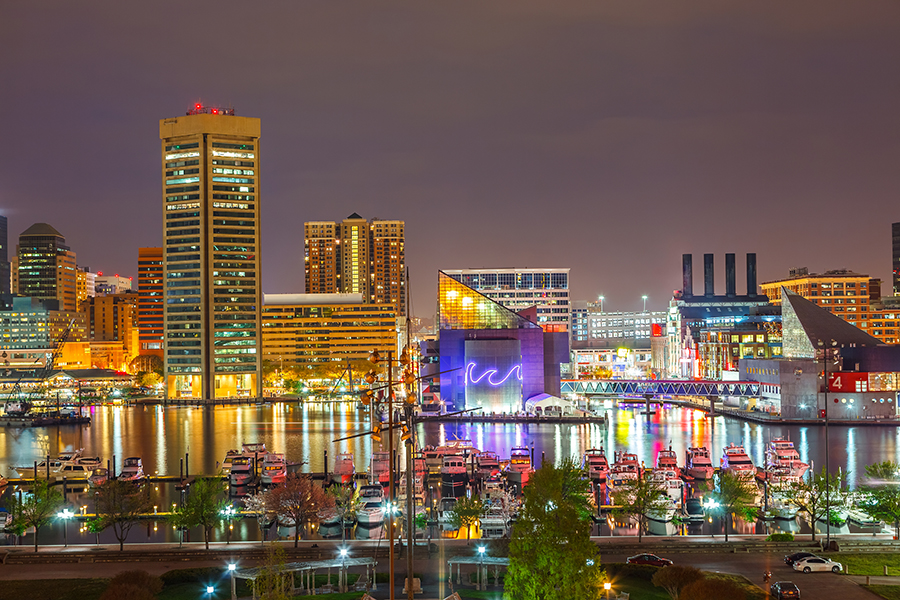 View on downtown of Baltimore at night
