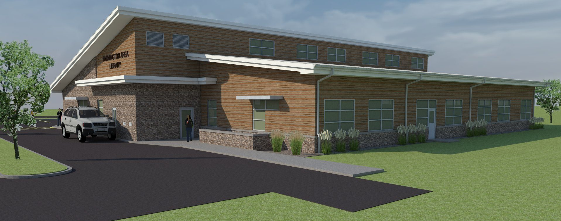 Architectural rendering of the Farmington Area Public Library. Image courtesy Farmington Area Public Library