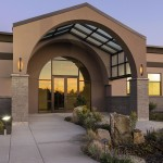 The structural system accommodates a stucco-and-stone exterior to create an architecturally unique appearance, at the new G2 headquarters facility in Kennewick, Washington. Photos courtesy Butler Manufacturing