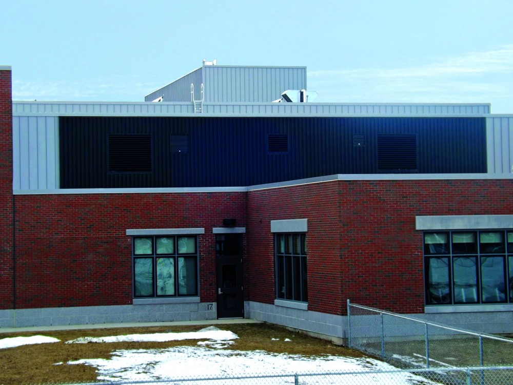 Several sustainable systems, including a transpired solar collector, contributed to Leadership in Energy and Environment Design (LEED) Silver certifi cation of Hampden Academy in Maine.