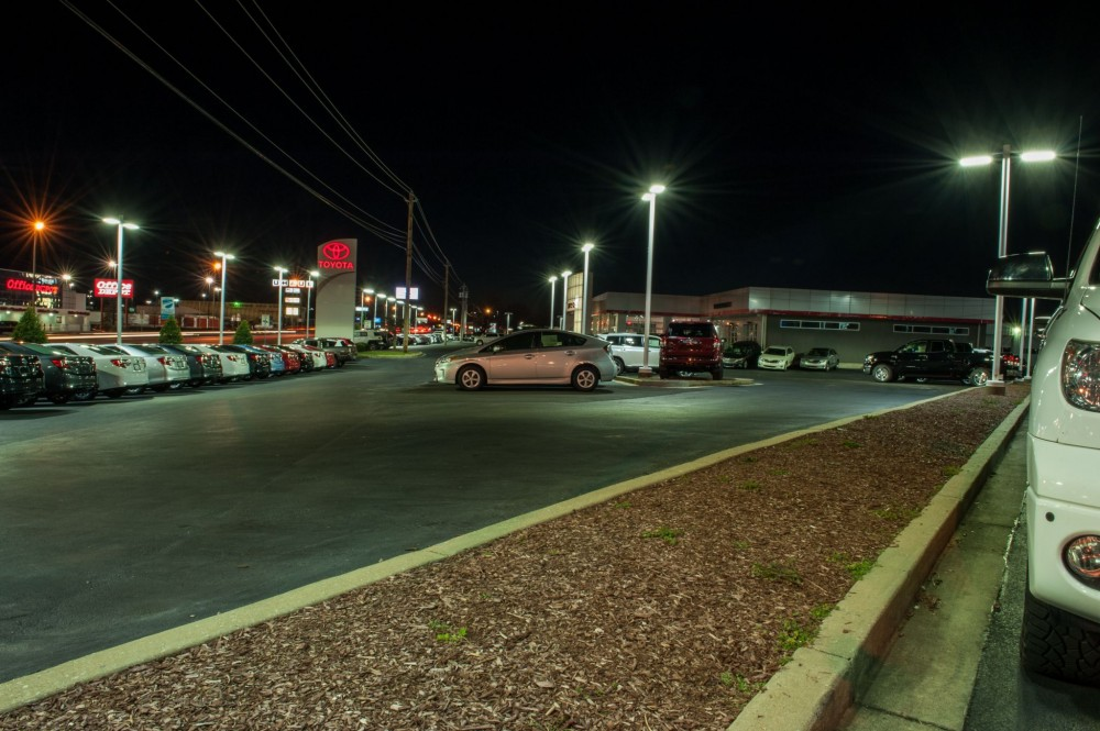 The photos to the left show Gary Force Toyota's lot after the replacement. The installation of LED luminaires enhances the appearance of the vehicles. The new exterior lighting allows the dealership to decrease operating expenses.