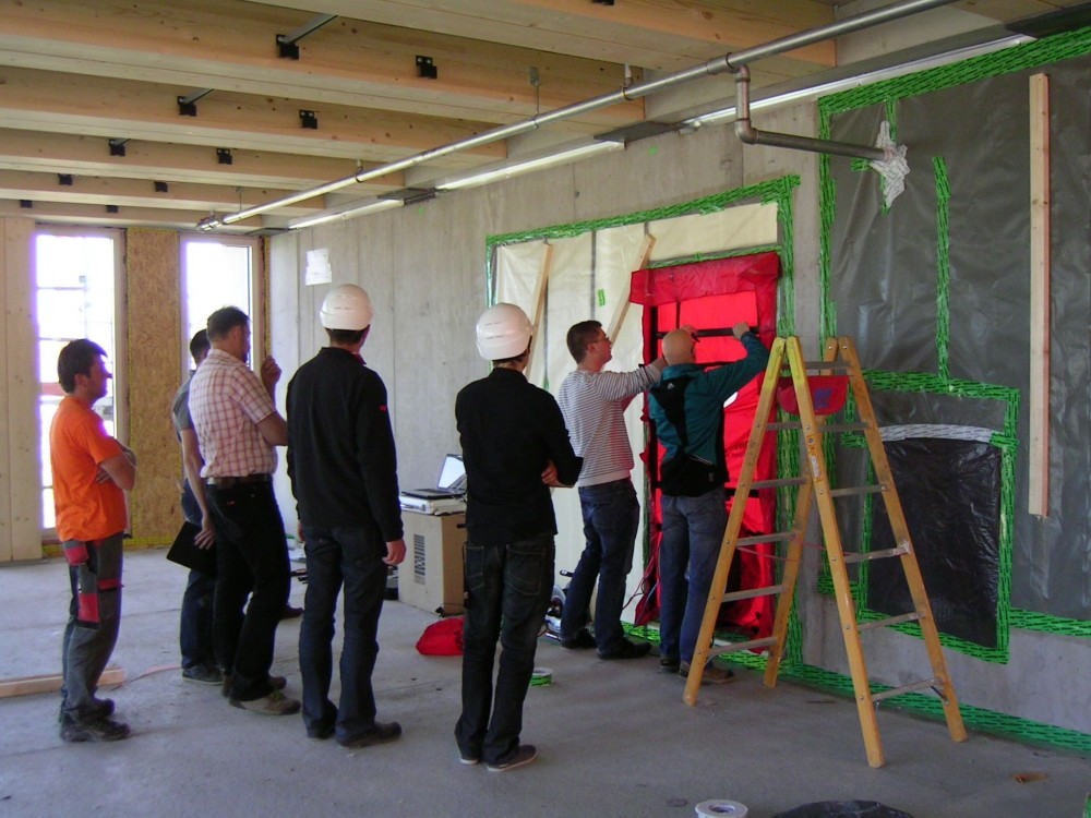 Preparation for blower door test for LCT ONE—a Passive House-certifi ed, eight-story wood offi ce building in Austria. Photo courtesy Cree GmbH