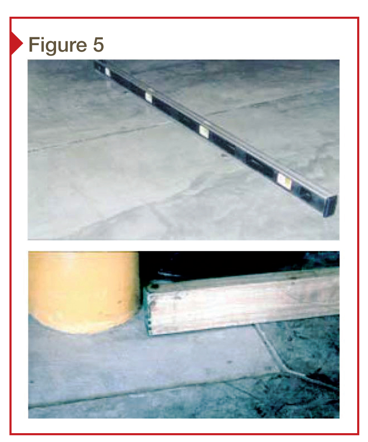 Flooring installers need to measure fl atness with a straightedge that crosses construction joints, column blockouts, and near penetrations. F-numbers measured in accordance with ASTM E1155 will not yield this information. The top photo shows a carpenter's level placed across a construction joint and the bottom photo shows a straightedge being used to check fl atness at a column blockout.