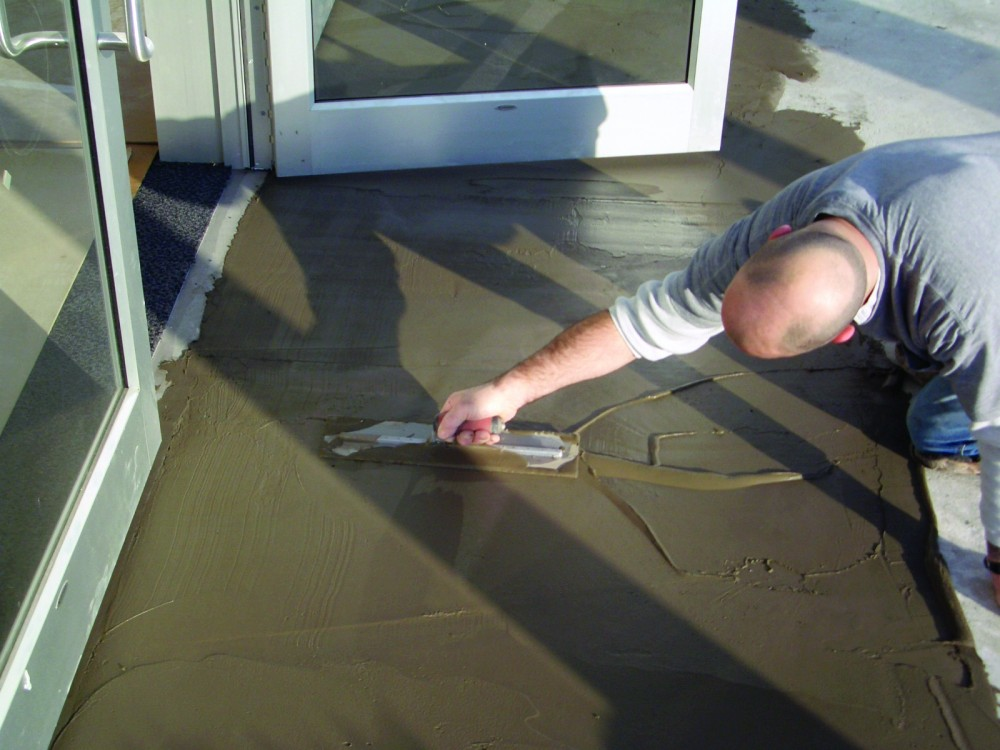 Any variation in the substrate should be corrected with an appropriate patching. Photo courtesy TEC/H.B. Fuller Construction Products