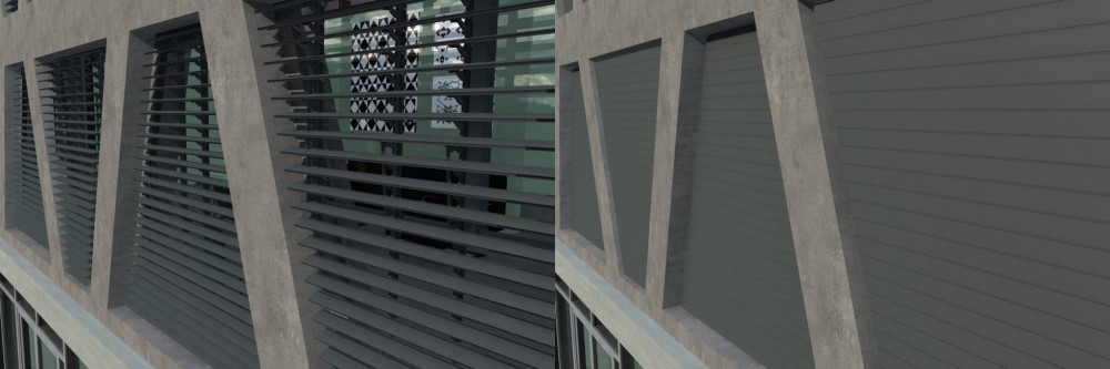 These louvers were designed for custom window shapes. Images courtesy Draper Inc.