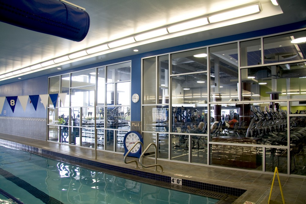 The design team kept the aquatic center a focal point at HUMC Fitness and Wellness Center with ample use of glass separating it from the other areas.