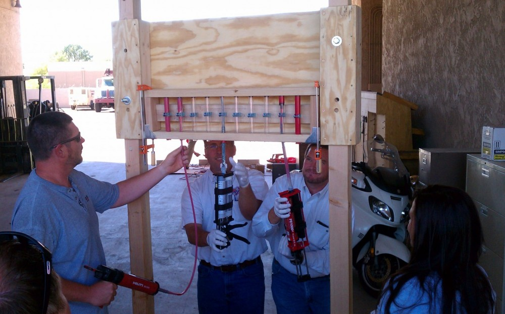 Contractors in Arizona participate in an American Concrete Institute-Concrete Reinforcing Steel Institute (ACI-CRSI) adhesive anchor installer certification program. Photo courtesy ACI Arizona Chapter