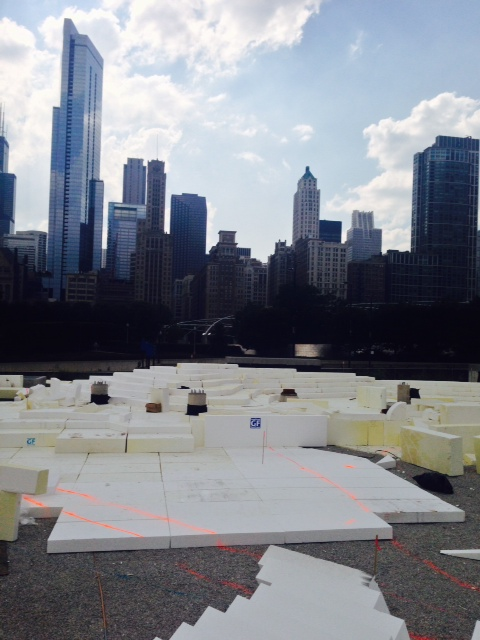 Lightweight expanded polystyrene (EPS) geofoam forms landscape contours over an underground parking garage at Chicago's Maggie Daley Park. Photo courtesy Insulfoam