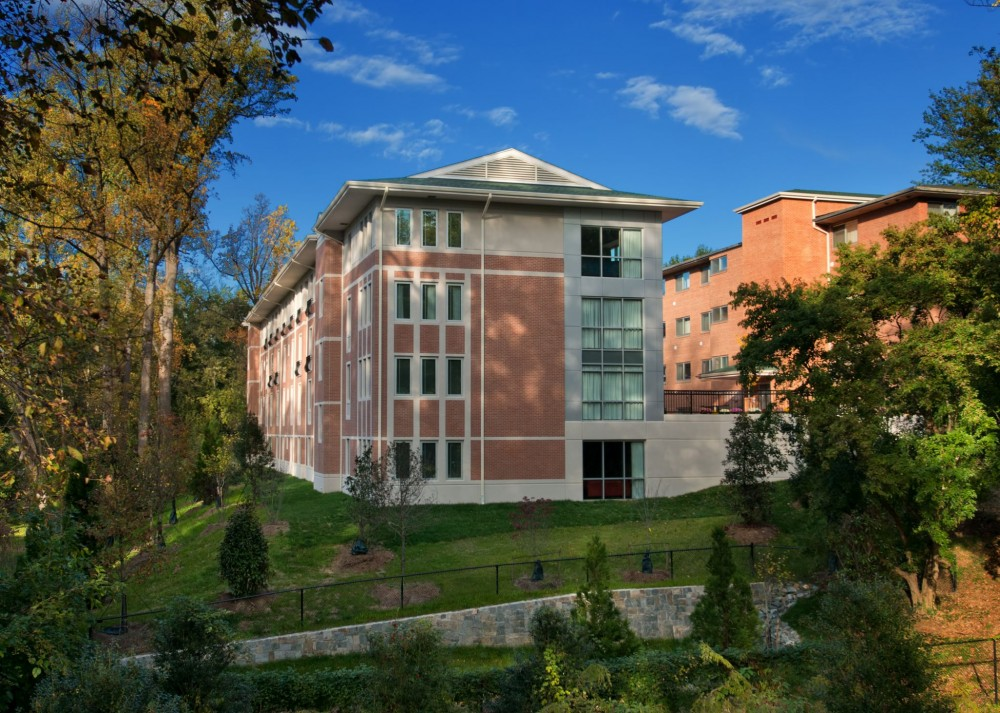 Wesley Theological Seminary (Washington, D.C.) is a four-story, thin-brick dormitory built into a hillside. Tilt-up is not common for this project type, but it provided a faster, more economical, and more durable building than traditional institutional construction methods. Photo courtesy Tilt-up Concrete Association
