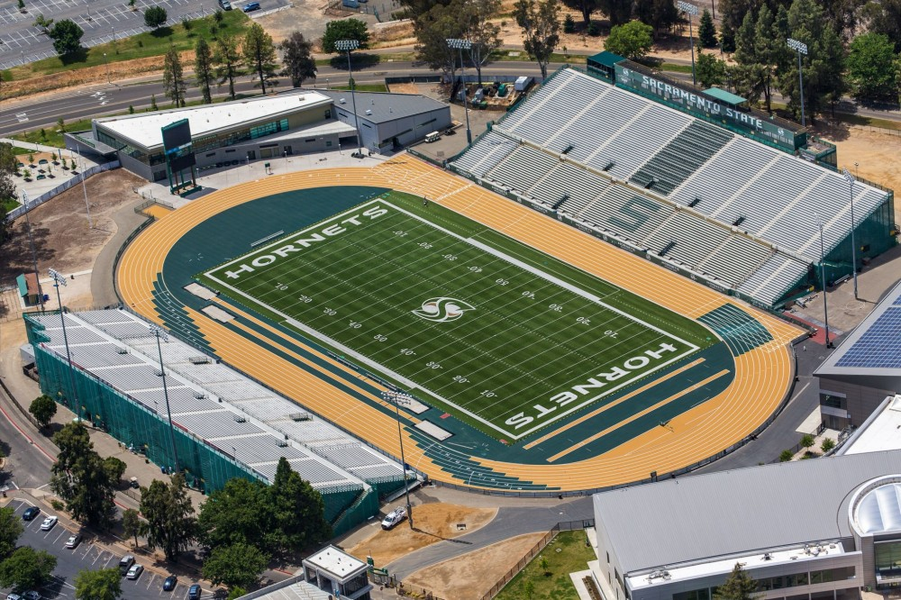 "At the American Sports Builders Association (ASBA) awards, ""Outdoor Track Facility of the Year"" went to Robert Cohen Co. (Albuquerque, New Mexico) for upgrading the Hornet Stadium Track at Sacramento State University in California. Photos courtesy American Sports Builders Association"