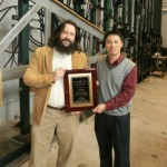 First-place competition winner Chris Willis (left) won first place in a cold-formed steel (CFS) design competition. At right is one of the program's organizers, the University of North Texas' Cheng Yu, PhD. Photo courtesy AISI