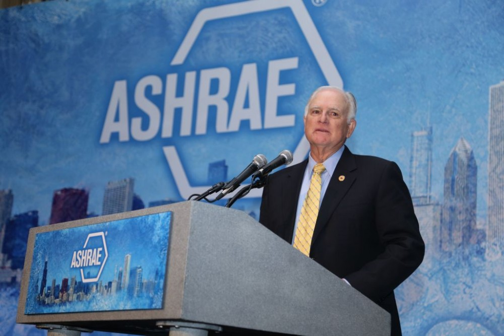 At the ASHRAE Winter Conference, the American Society of Heating, Refrigerating, and Air-conditioning Engineers (ASHRAE) presented its F. Paul Anderson Award to Damon Gowan, the retired president and CEO of EMCOR-Gowan. Photo courtesy ASHRAE