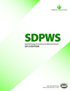 The 2015 SDPWS standard for wood-frame construction features provisions covering materials, design and construction of wood members, fasteners, and assemblies to resist high wind and seismic forces.