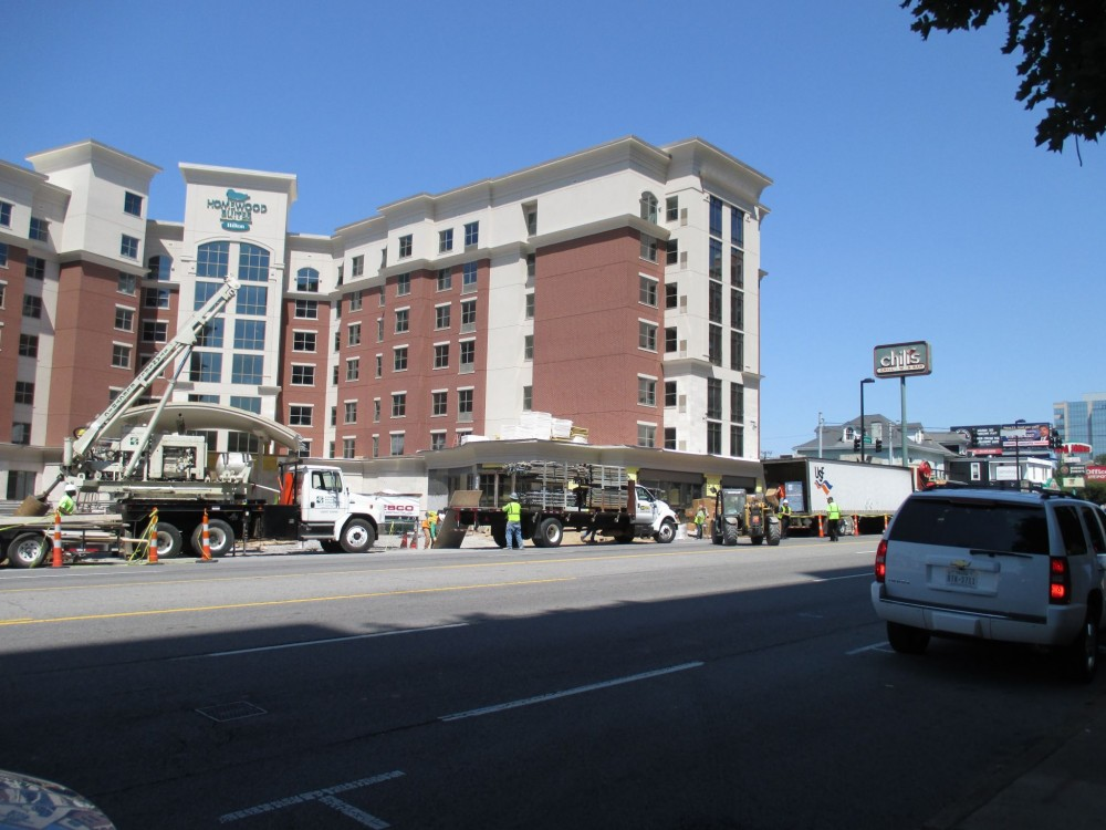 The Homewood Suites project in Nashville, Tennessee employed an exterior cladding combination of natural limestone on the first floor and an exterior insulation and finish systems (EIFS) on the upper floors featuring an air barrier, continuous insulation designed to replicate the look of traditional brick and natural limestone.