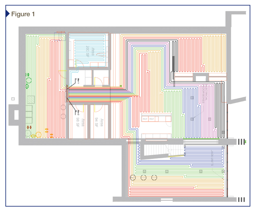 In the diagram above, there is a clear design flaw in that nearly all of the project tails are required to funnel through one small hallway. Not only has the ability to zone this hallway separately been lost, but also the chance of overheating this interior space is greatly increased because external zones will call for heat first. [CREDIT] Image courtesy REHAU