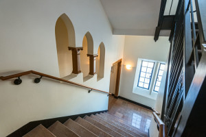 St.Mary's Hall, reopened after major renovations and restoration. Staircase, viewed from the Computer Science floor, leading up to the Communications Department and down to the second floor Jesuits residence.