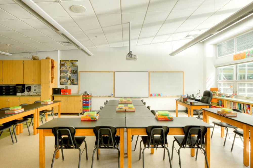 The daylighting advantages for this Manassas Park classroom go far beyond reducing reliance on electrical utilities—there is much to be said about natural light's benefits in health and productivity. Photo © Sam Kittner Photography