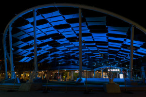 The unique and colorful 'mandolin' shade structure was part major landscaping renovation to the Domain Mall's common area.